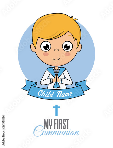 First communion card. Praying boy  © sonia