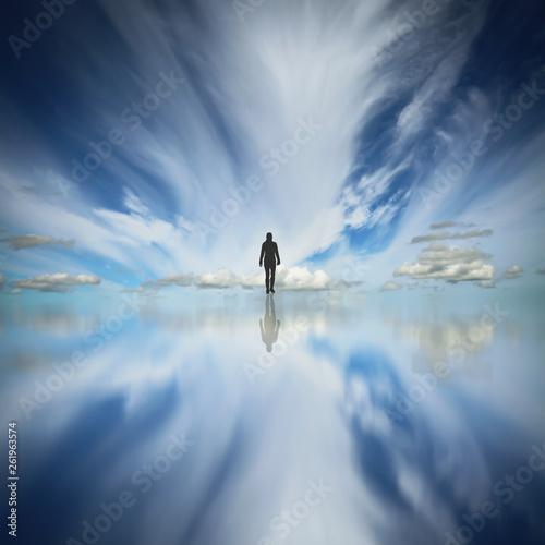 canvas print picture Ein Mann geht den Weg ins Nirgendwo durch die Wolken