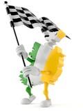 Ireland character waving race flag