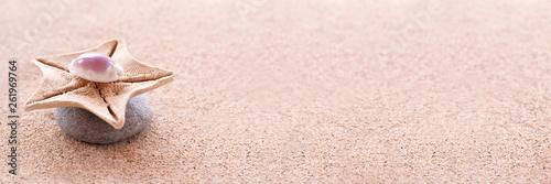 Zen stones, sand and seashells panoramic zen still life © Delphotostock
