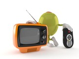 Olive character with tv set and remote