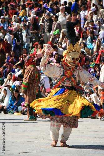 fototapeta na ścianę Traditional dances during a religious festival (tsechu) in a dzong in Thimphu (Bhutan)