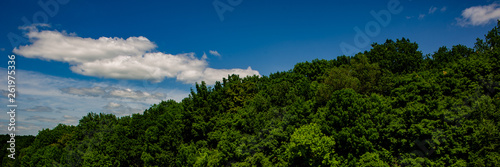 landscape with clouds in hilly terrain on a sunny day.Web banner. - 261975336
