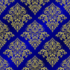 Seamless background of blue color in the style of baroque. Damask wallpaper