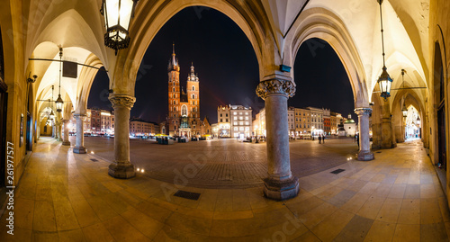 Night view of Main Market Square in Krakow. Krakow is one of the most beautiful city in Poland © dziewul