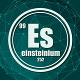 Einsteinium chemical element. Sign with atomic number and atomic weight. Chemical element of periodic table. Molecule And Communication Background. Connected lines with dots.