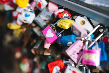 SEOUL, SOUTH KOREA,26 October 2016: Plenty of master key were locked along the wall on at Seoul tower