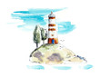 The red beacon on the island. Watercolor hand drawn illustrations