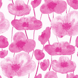 poppies seamless pattern pink