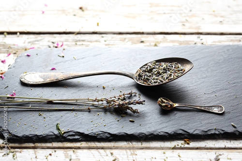 Lavender, dried lavender flowers. Herb used in medicine, kitchen and cosmetics.