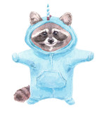 Cute baby raccoon animal in pink unicorn pajamas. Raccoon Print for children's fabric. Decor for children's parties. Unicorn Kigurumi