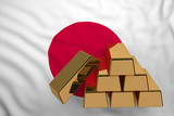 gold bars on flag Japan