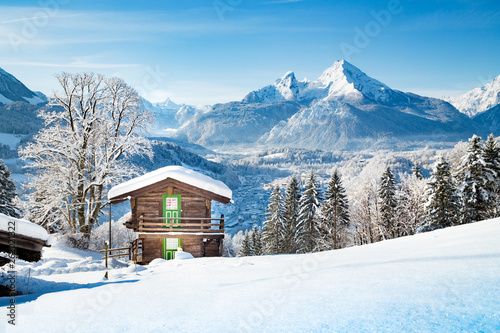 Traditional mountain cabin in the Alps in winter © JFL Photography