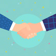 Concept of success deal, happy partnership, greeting shake, casual handshaking agreement. Shaking hands. - 262030527