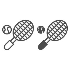 Tennis ball with racket line and glyph icon. Sport equipment vector illustration isolated on white. Tennis game outline style design, designed for web and app. Eps 10.