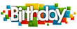 birthday word in rectangles background
