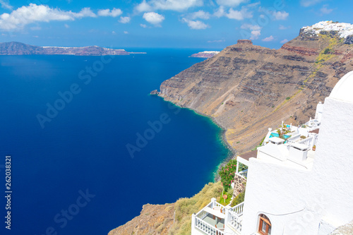 beautiful view on blue aegean sea from Santorini island, Cyclades, Greece