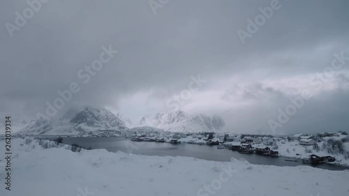 sea and mountains in winter, time lapse
