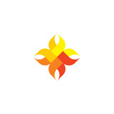 abstract fire flame icon geometric logo design element