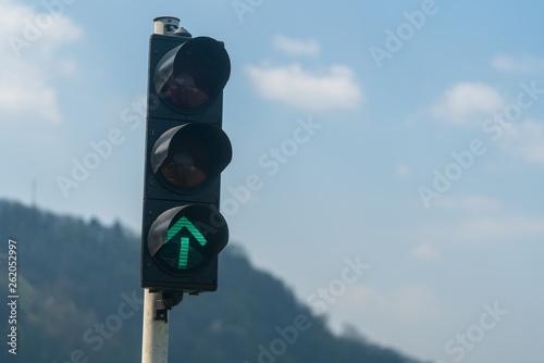 canvas print picture Verkehrsampel mit grünem Pfeil