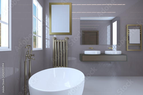 Modern bathroom in pink color. Large windows and classic plumbing.. Blank paintings.  Mockup. 3D rendering © COK House