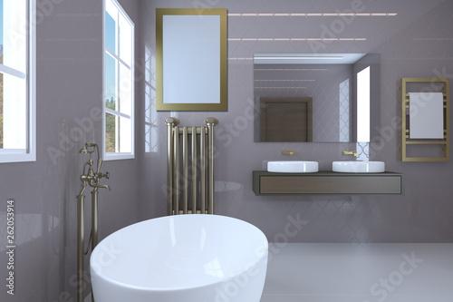 Modern bathroom in pink color. Large windows and classic plumbing.. Blank paintings.  Mockup. 3D rendering © COK House