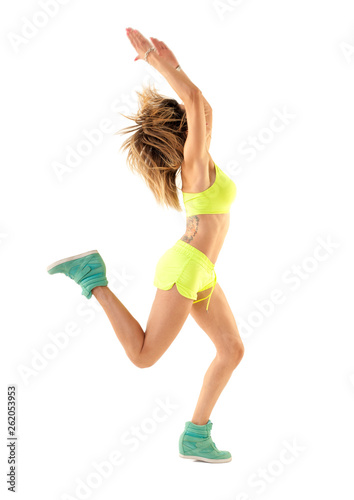 canvas print picture Zumba dance fitness instructor doing sport aerobic exercises. Motivational coach