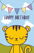 happy birthday card with cute tiger
