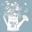 Echinacea, dandelions with Scheffler in a jar of water. watering can. Vector illustration. Paper flower, stickers. Laser cut. Template for Plotter. Pattern for the laser cut, serigraphy, plotter and s