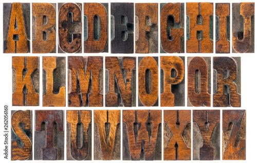 antique French Clarendon wood type alphabet