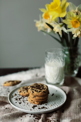 Glass of milk and Homemade chocolate chip cookies