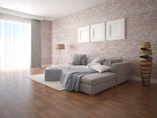Mock up superb living room with stylish gray sofa and brick wall background.