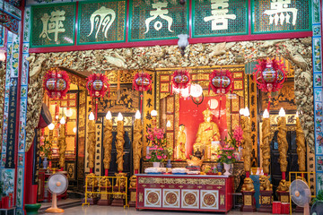 The language at the top is the name of the chinese gods called Tai Hong Kong Shrine in Poh Teck Tung Foundation the famous place for Chinese New Year at downtown Bangkok, Thailand.