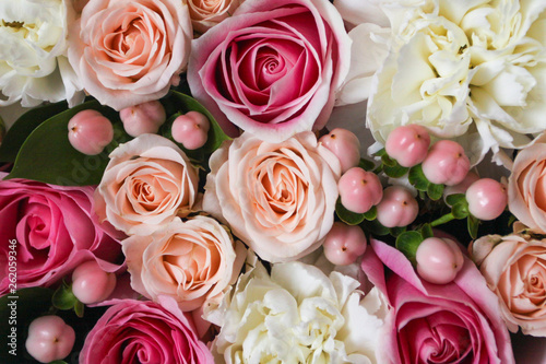 Beautiful floral background in the Box with the macaroons on top of the background