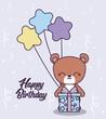 happy birthday card with cute bear