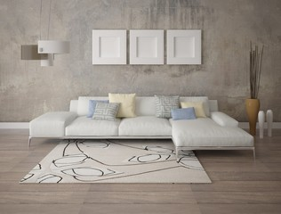 Mock up modern living room with a stylish corner sofa and trendy hipster backdrop.