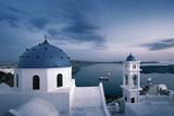 Greek orthodox church against sea bay in Santorini Greece