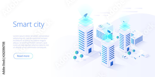 Smart city or intelligent building isometric vector concept. Building automation with computer networking illustration. Management system or BAS  background. IoT platform as future technology. - 262086708