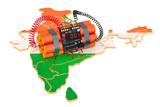 Terrorist Attacks in India concept. 3D rendering