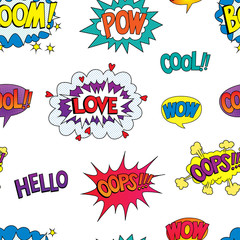 seamless pattern with speech bubbles with different emotions