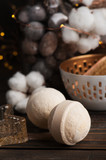 Spa products with golden candle and cotton