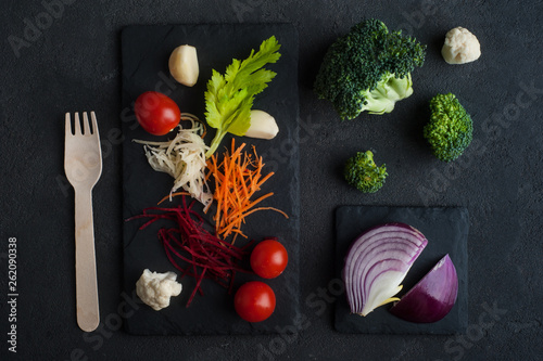 Food background with raw organic vegetables