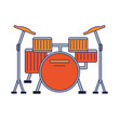 Drum music instrument isolated blue lines