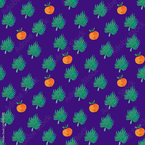 Seamless pattern with orange and exotic leaf © Daria