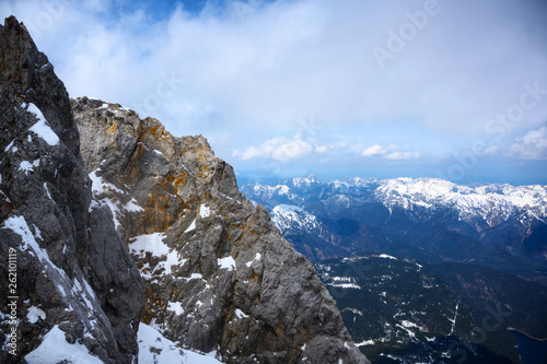 Mountain ridge in the Bavarian Alps under a cloudy sky, Germany, Austria, copy space