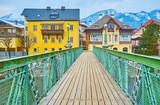 Walk along the Taubersteg bridge, Bad Ischl, Salzkammergut, Austria