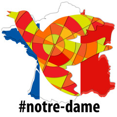 Notre-Dame cathedral 2019 fire symbol - faith and unity concept