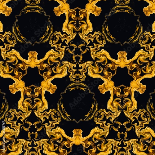 Graphic painting rich design abstraction for wall art decor print as poster or canvas, decoration printed production, commercial ad banners or web using. Golden color background. Liquid gold imitation - 262113767