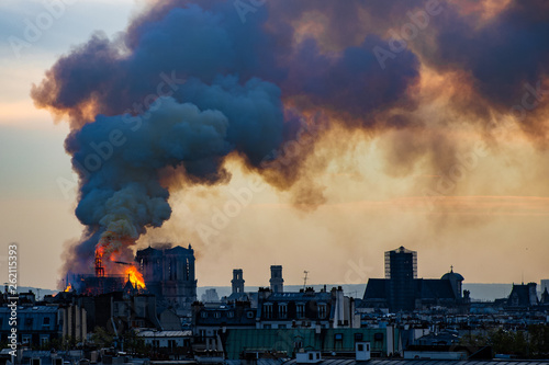 Notre Dame fire on Paris during sunset - 262115393