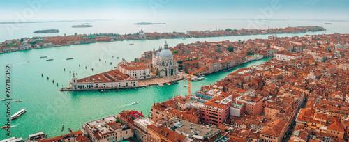 Epic panoramic aerial cityscape of Venice with Santa Maria della Salute church and Rialto bridge in Veneto, Italy  - 262117352